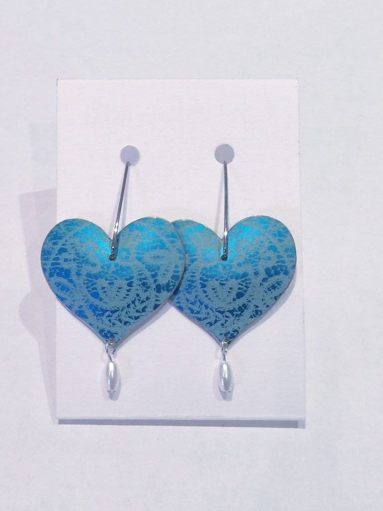 Blue Heart Earrings with Pearls