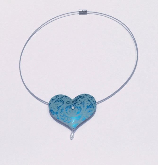 Blue Heart Pendant with Pearl