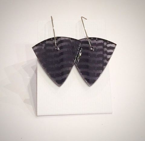 Charcoal Shield Acrylic Earrings