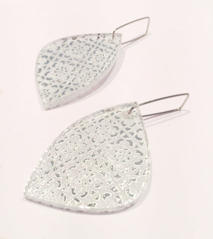 Silver Shield Acrylic Earrings