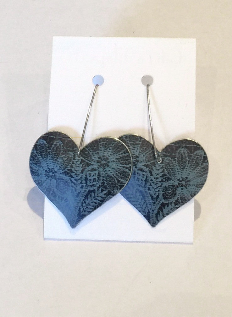 Dark Blue Heart Earrings