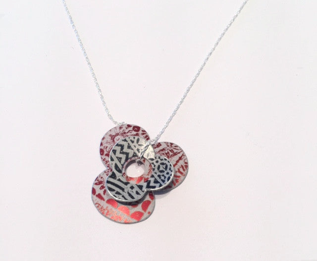 Black & Red Double Clover Pendant