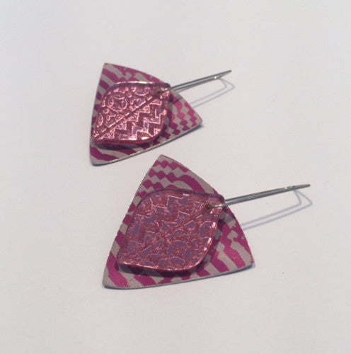 Purple Shield Earrings