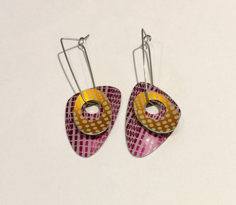Double Earrings (Orange/Purple)