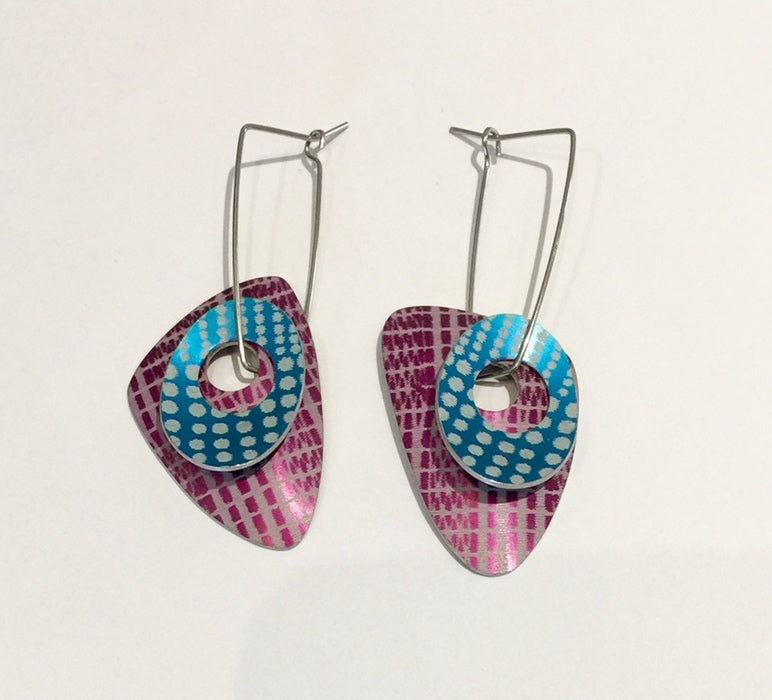 Double Earrings (Turquoise/Purple)