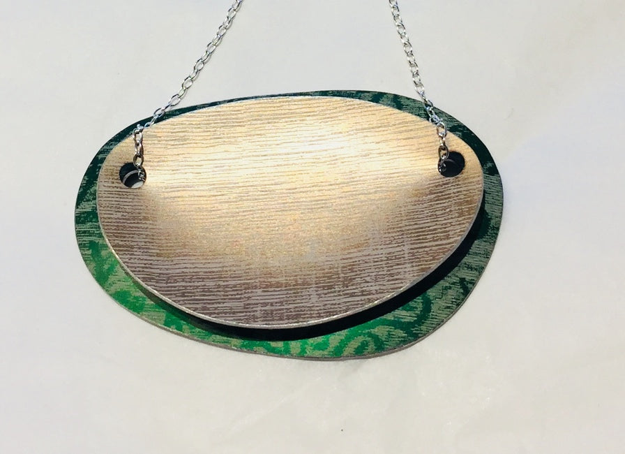 Green & Bronze Linen Futures Double Oval Pendant