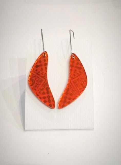 Orange Bow Acrylic Earrings