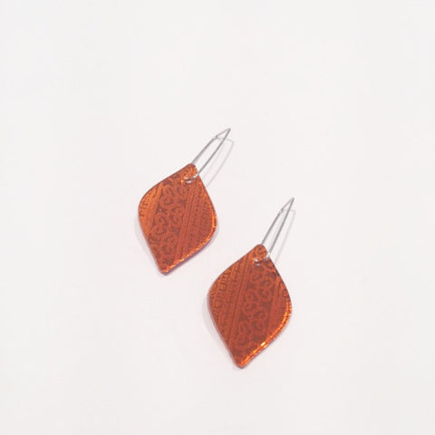 Orange Teardrop Acrylic Earrings