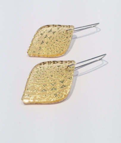 Pale Gold Oval Diamond Acrylic Earrings