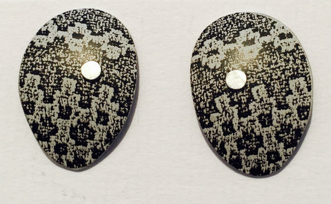 Black Linen Futures Oval Studs