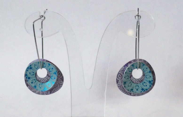 Purple & Turquoise Double Oval Earrings
