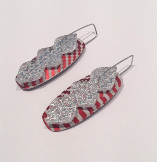 Red Striped Oval Waterfall Earrings