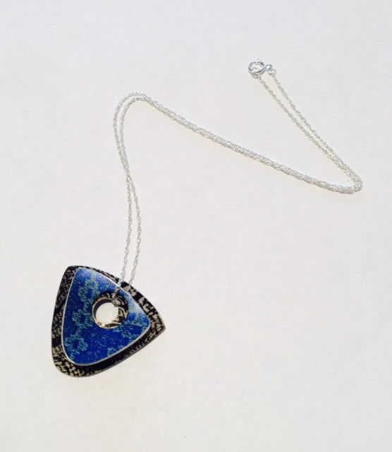 Blue and Black Linen Futures Double Triangle Pendant