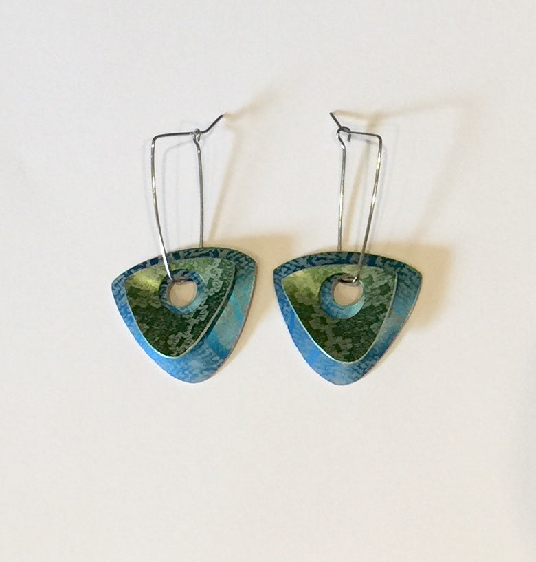 Blue & Green Linen Futures Double Triangle Earrings