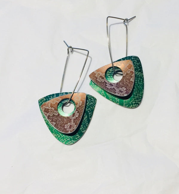 Green & Bronze Linen Futures Double Triangle Earrings