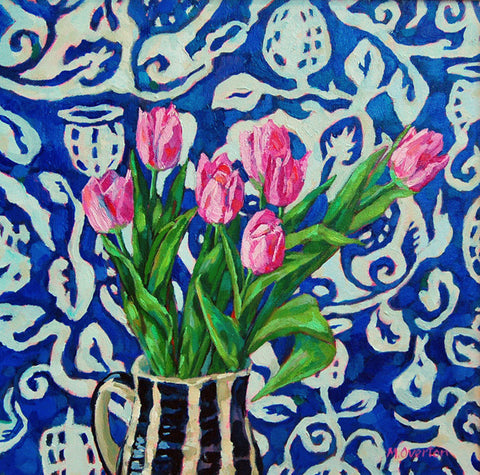 Pink Tulips, Blue Cloth