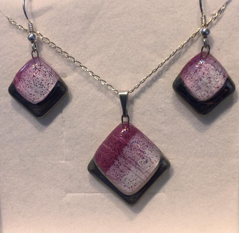 Violet Platinum Square Glitter Drop Pendant & Earrings Set