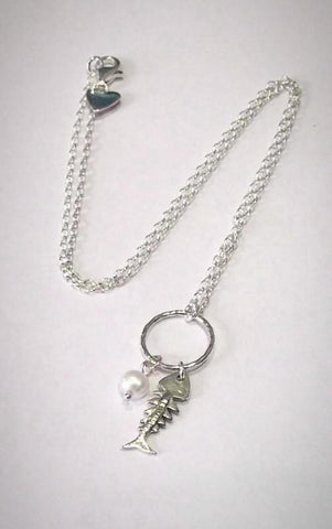Silver Fish Pendant with Pearl