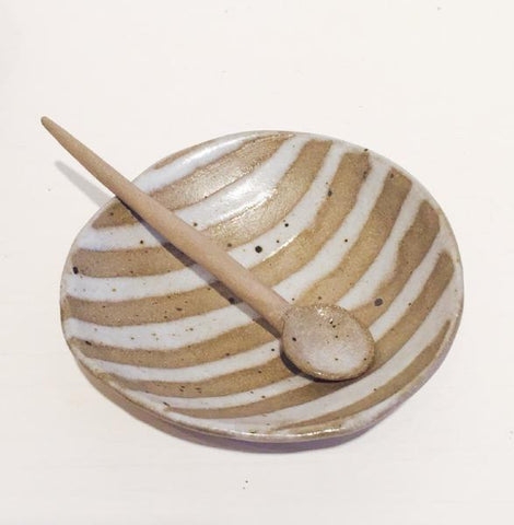 Salt Dish and Spoon (Striped)