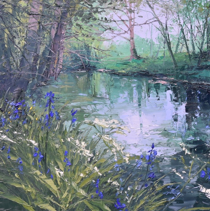 Bluebells by the River's Edge