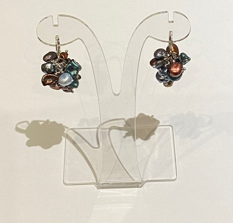 Keishi Pearl Earrings (Multi-coloured)