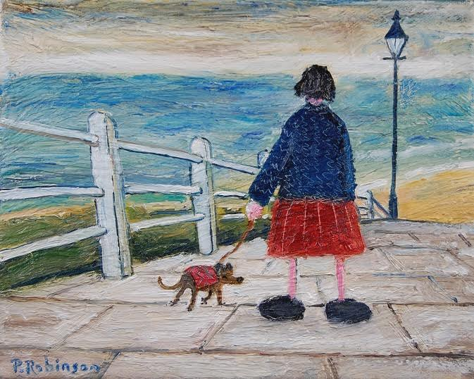 Lady and Dog Walk by the Sea