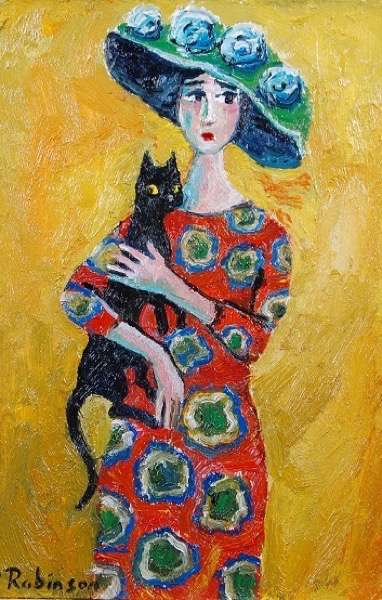 Lady in Hat with Cat