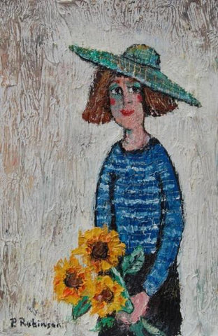 Lady with Sunflowers and Green Hat