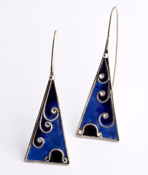 Enamel and Silver Earrings 1