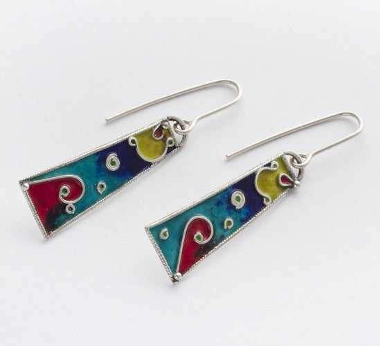 Enamel and Silver Earrings 2