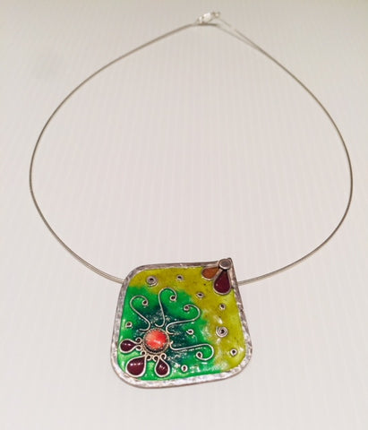 Green & Yellow Enamel and Silver Pendant