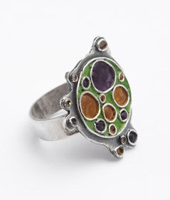 Green & Purple Enamel Ring