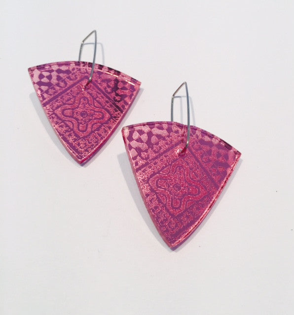 Pink Triangle Acrylic Earrings