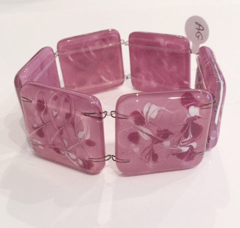 Painted Square Bracelet (Pink and White)
