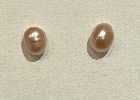 7mm Potato Pearl Earrings (Dusky Pink)