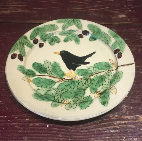 Blackbird with Berries & Acorns Plate (Large)