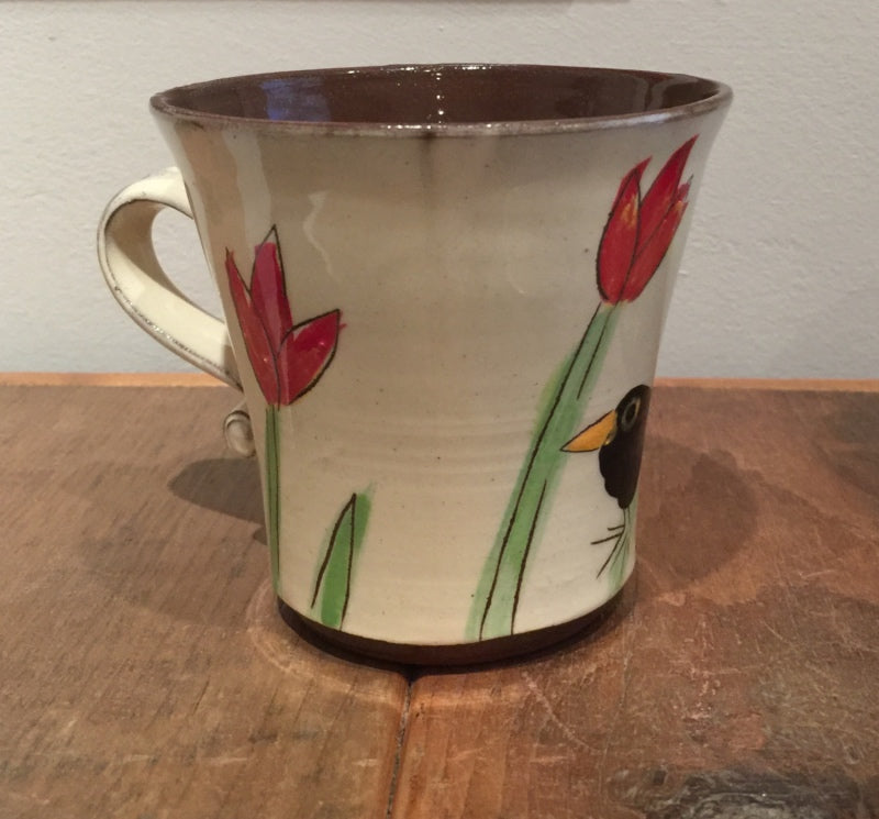 Blackbird Mug with Tulips (Large)