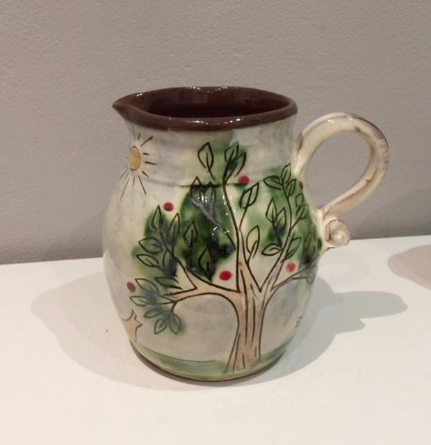 Rabbit Jug with Birds and Sun