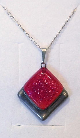 Red Frosted Square Pendant