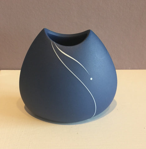 Blue Vase with White Inlay Small 3