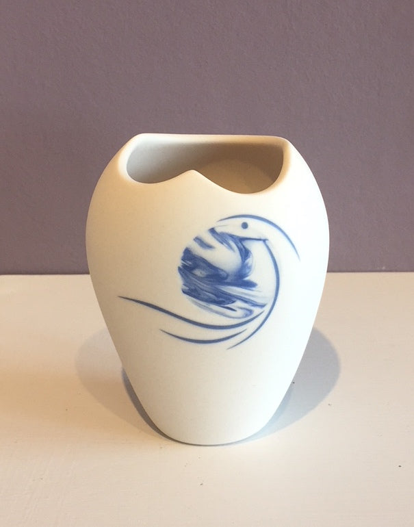 Small White Vase with Blue Moon & Birds 4