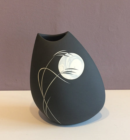 Medium Black Vase with Grey Moon 1