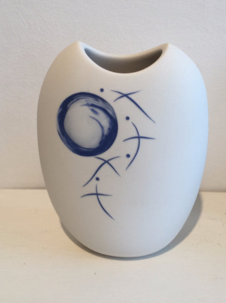 Small White Vase with Blue Moon & Birds 1