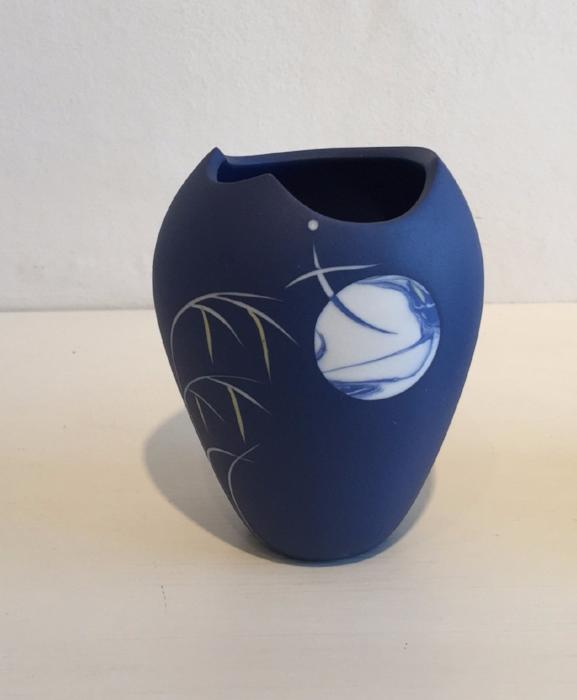 Small Blue Vase with Moon & Grasses 2