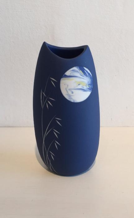Medium Blue Vase with Moon and Grasses 2