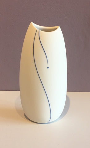 White Vase with Blue Line (Medium) 2