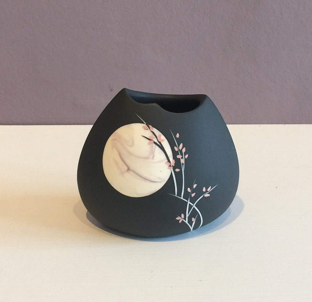 Small Black Vase with Pink Moon