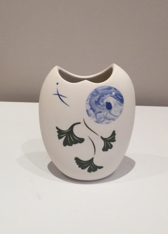 Medium White Vase with Moon & Ginko Tree