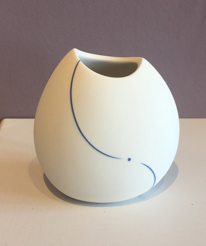 White Vase with Blue Line (Small) 1