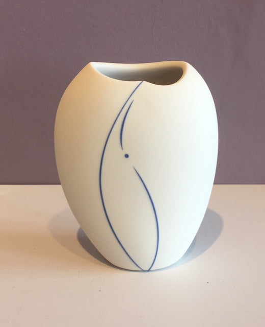 White Vase with Blue Line (Small) 2